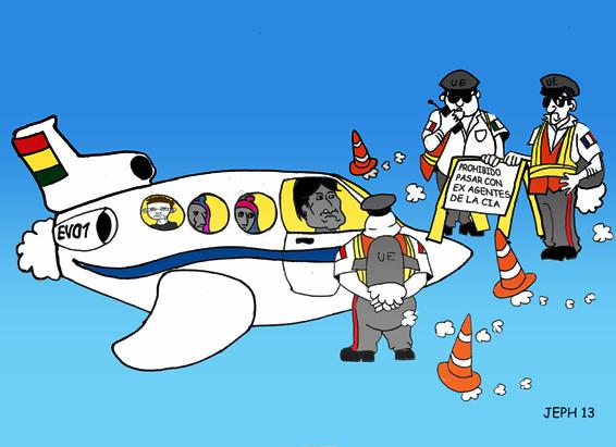 Caricatura de Evo Morales manejando un avión y en el aire es detenido por agentes de transito