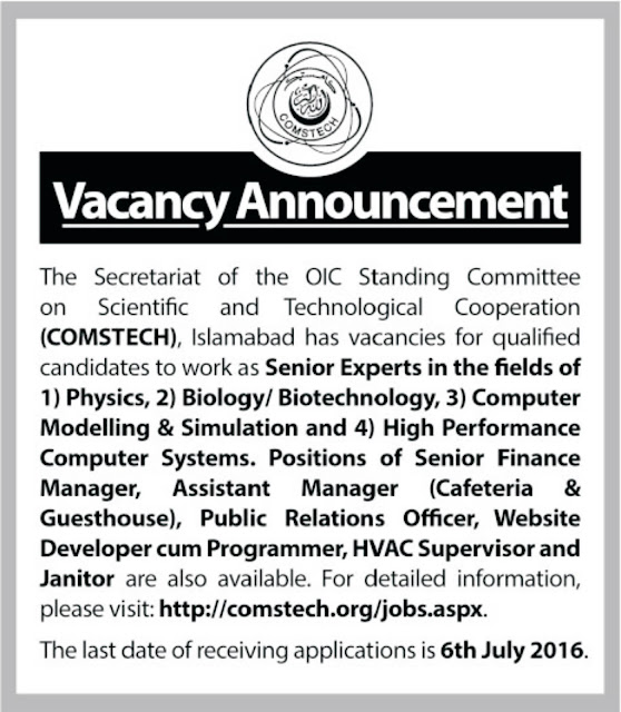 Standing Committee on Scientific & Technological Cooperation Jobs