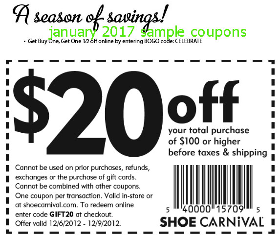 Shoe carnival coupons january 2018