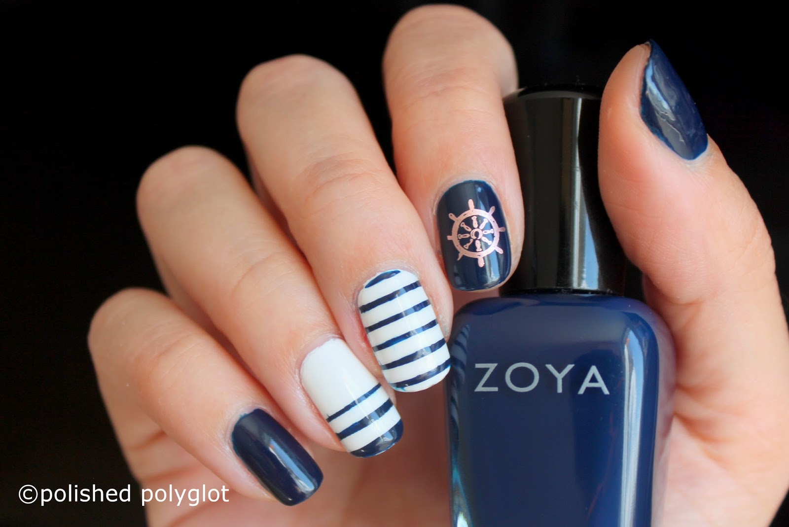 Nail art │Navy blue and white nautical nail [Nail crazies unite ...