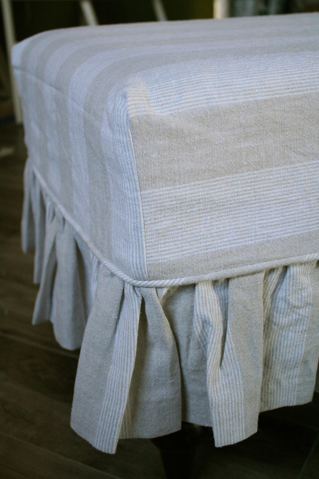 Gray Linen Sofa Slipcover Dog Beds Style Custom Slipcovers By Shelley Waterfall Skirt Couch