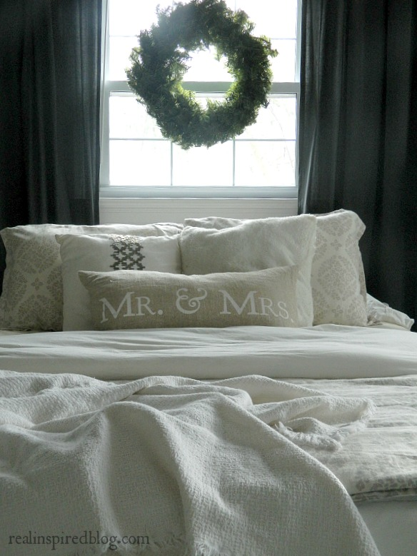 Country glam gray and white neutral master bedroom from Christmas Tour at Real Inspired