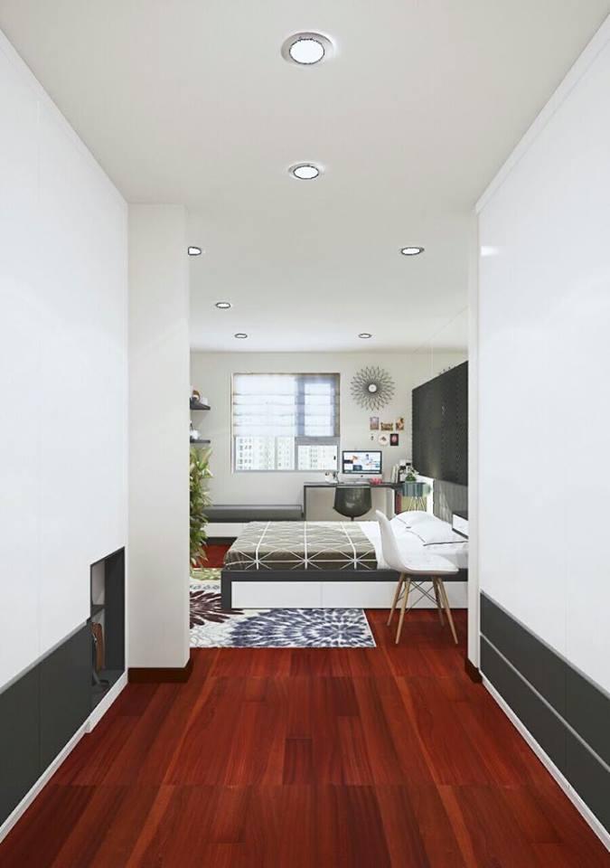Mẫu thiết kế phòng ngủ nhìn từ hướng phòng khách