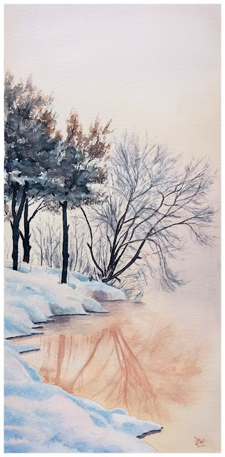 aquarelle JP Wisniewski paysage en hiver neige et reflets  original watercolor painting winter snow and reflections
