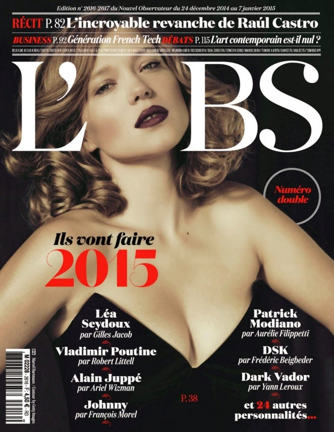 Lea Seydoux bares cleavage for L'Obs Magazine Winter 2015