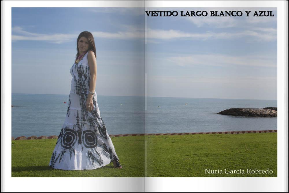 Vestido largo blanco y azul
