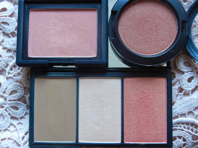 TOP L-R: Nars Torrid & Mac Ambering Rose Bottom: Sleek Light 373 Blush