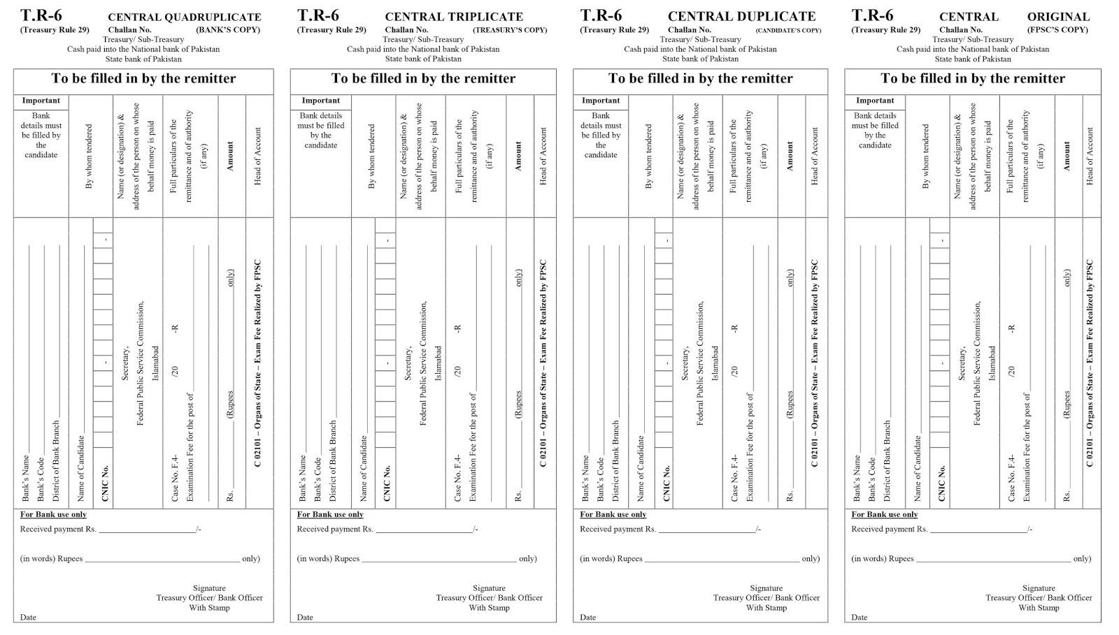 FPSC Challan Form For All Grade Jobs - Mehsud Tech