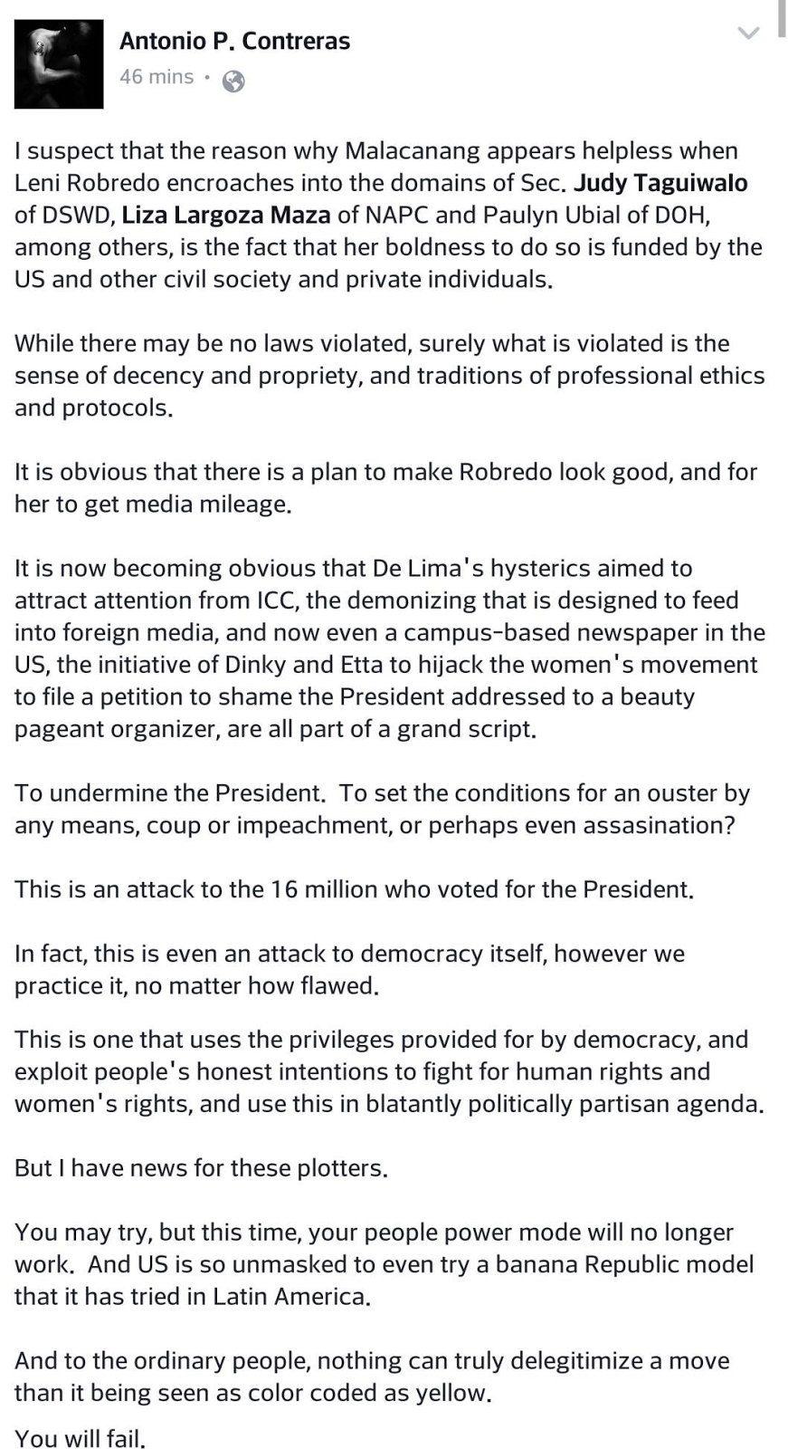 Well known DLSU professor: Robredo, De Lima attacking PDuterte and democracy, but will fail