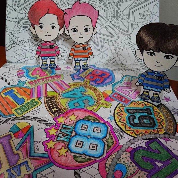 FANTAKEN 160209 EXOs Coloring Book EXO A DAY IN