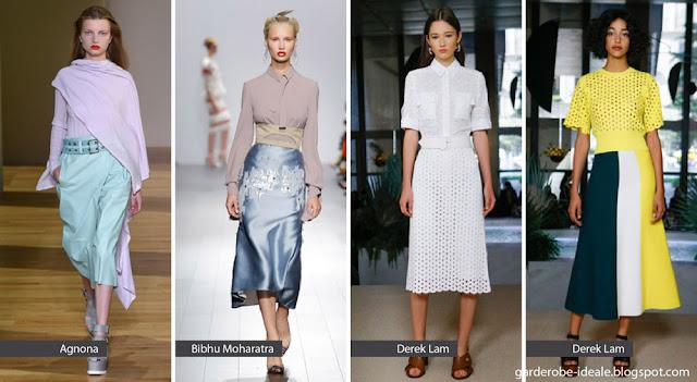 Расклешенные юбки с ремнем на подиуме показ весна лето 2018