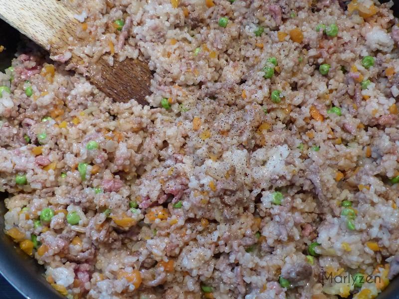 Riz sauté boeuf-légumes.