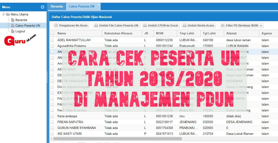 GAMBAR PDUN SITUS CEK PESERTA UJIAN 2019/2020