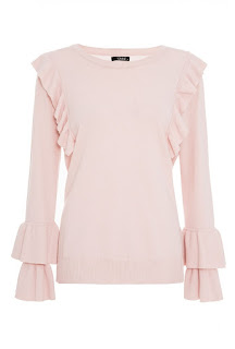 Quiz pink light knit ruffle jumper