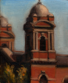 Oil painting of a red-brick domed church tower in front of a blue sky.