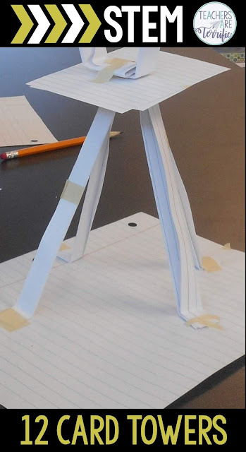 Students will follow the steps of the Engineering Design Process in this challenge in which they have only 12 cards to build a tower.  It is amazing to watch them create a tower and use the supplies in the best way possible. They will improve the design constantly and will creatively get their towers to stand up and be measured. It's a perfect challenge, using a minimum of materials, to launch STEM in your classroom. #STEM #backtoschool