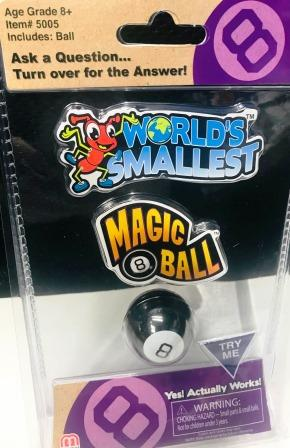 World's Smallest Magic 8 Ball in packaging