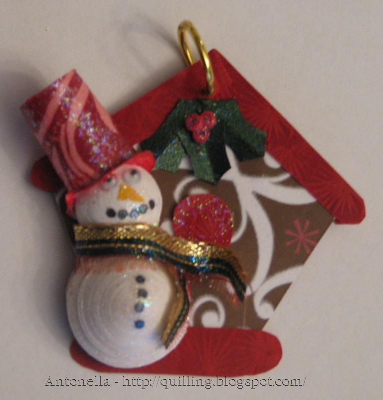 quilled snowman birdhouse ornament