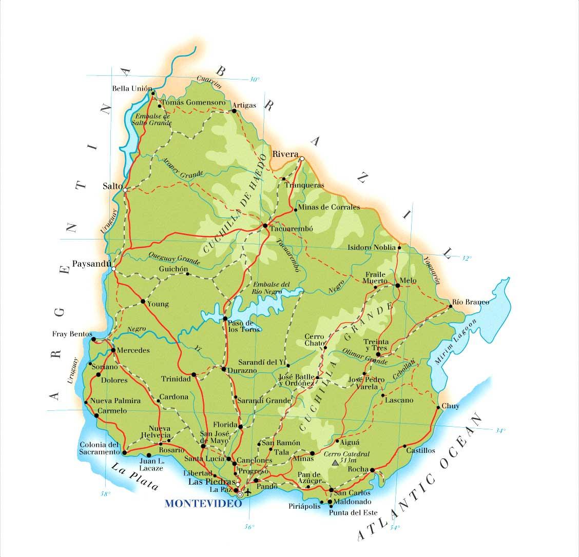 Uruguai, Mapas Geográficos do Uruguai