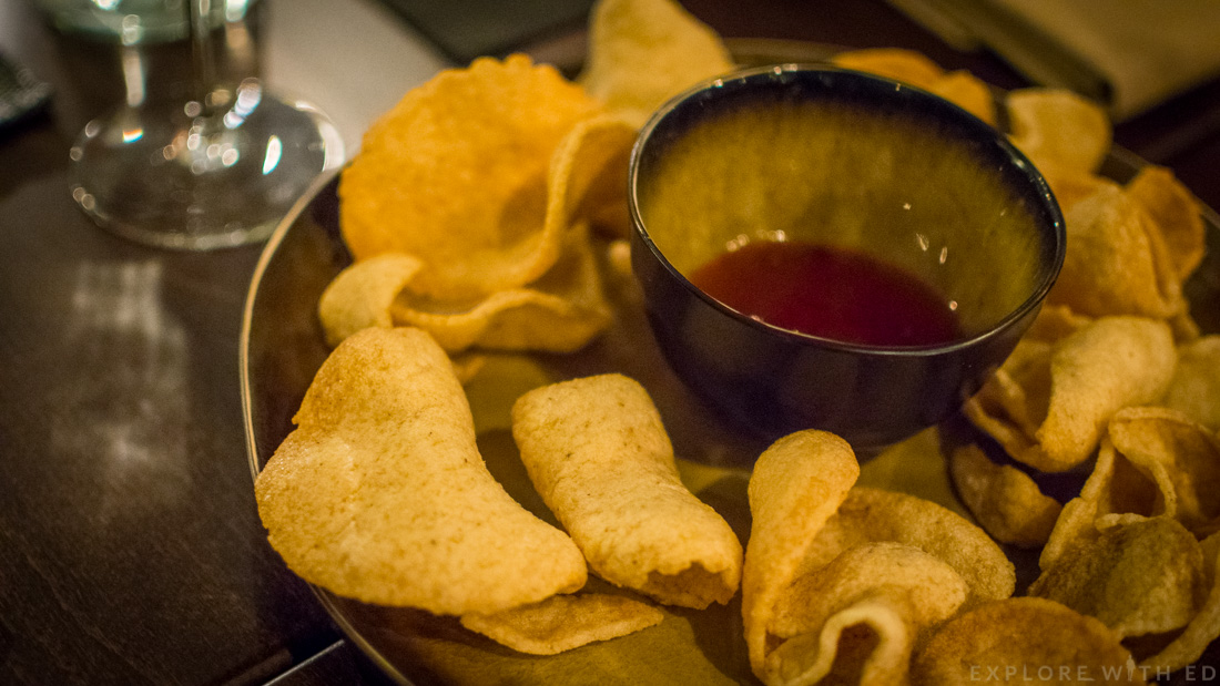 Prawn crackers sweet chilli sauce, Cen restaurant, Celtic Manor