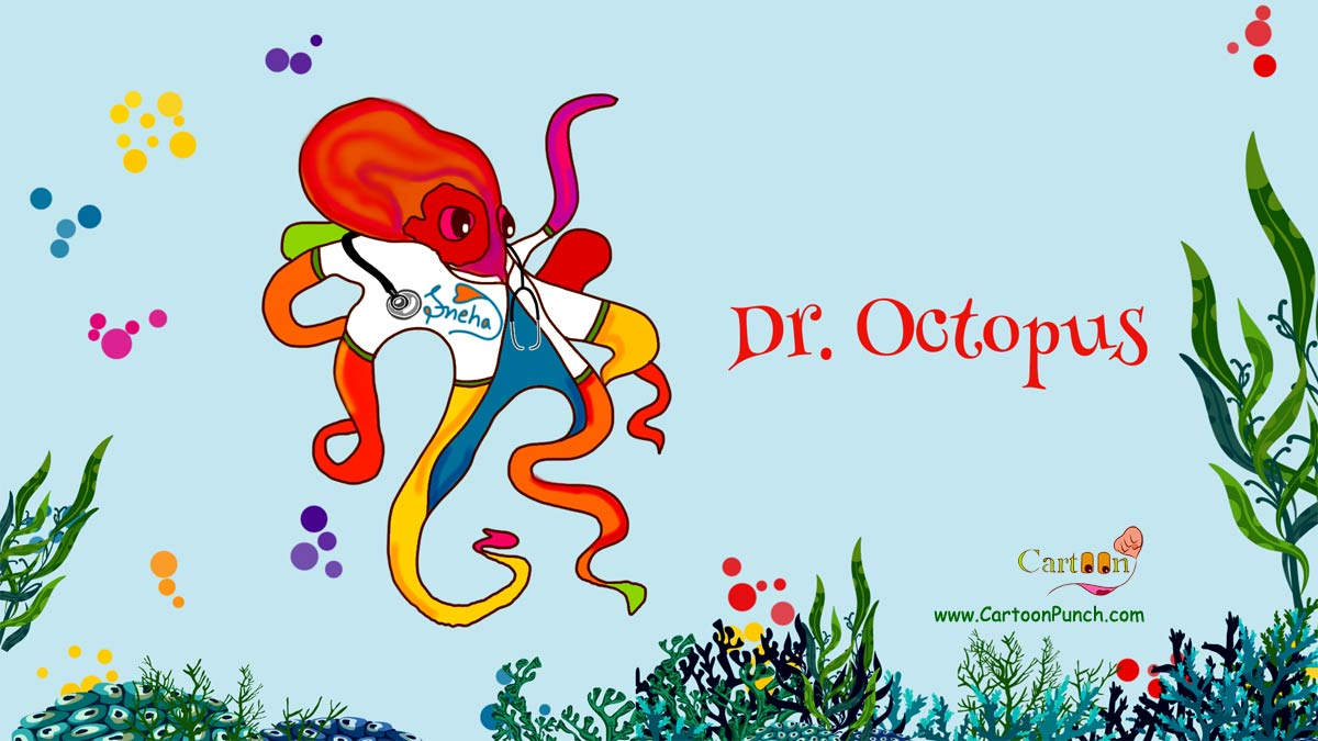 Dr. Octopus cartoon illustration by sneha