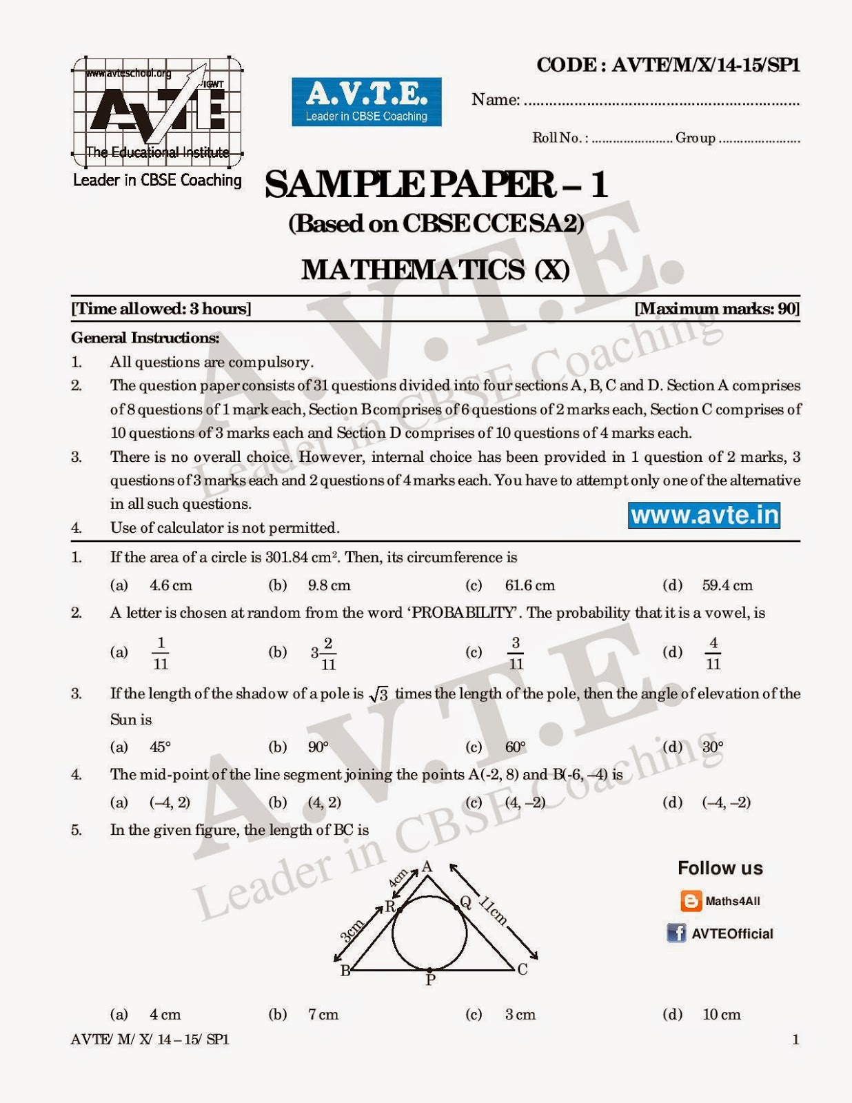 Cbse Math Sample Paper Class 10 Sa2