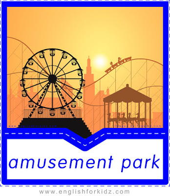 English flashcard, places and geography vocabulary, amusement park