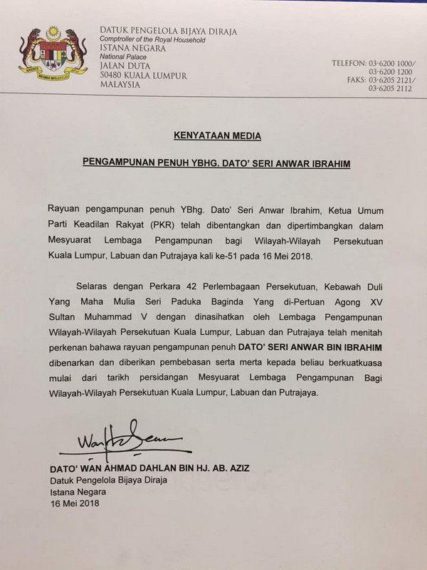 #AnwarIsFree: Terima Pengampunan Diraja, Anwar Bebas Berpolitik