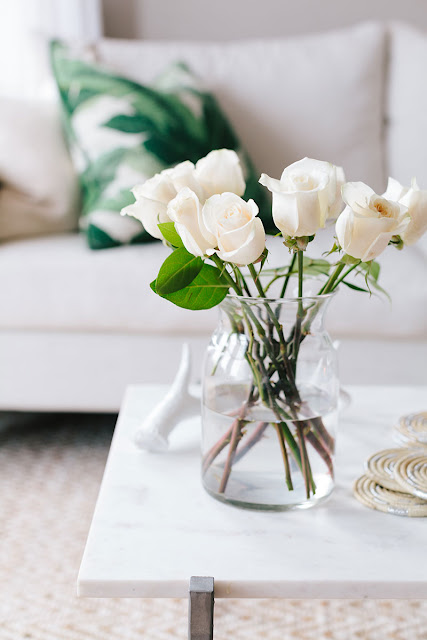 Bouquet of white roses | Ashley Kane's San Francisco Apartment Tour