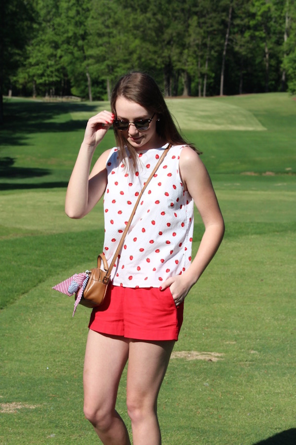 Wells Fargo Championship spectator outfit. This Brooks Brothers Red Fleece strawberry top is a summer staple.