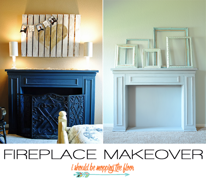 Chalk Paint Fireplace Makeover | Annie Sloan Paris Grey on a faux fireplace. | Easy chalk paint tutorial.