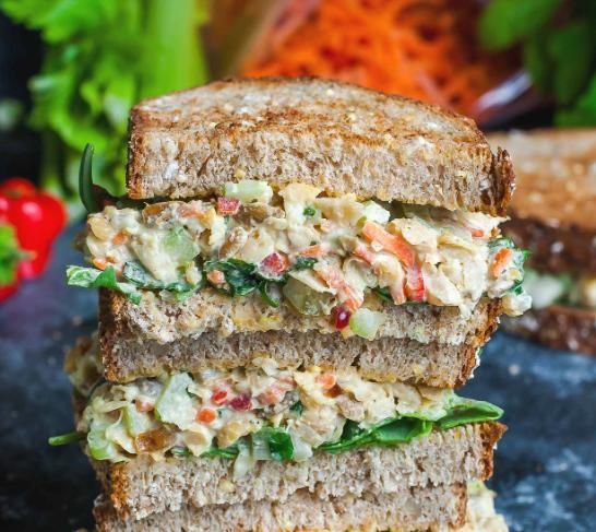 Garden Veggie Chickpea Salad Sandwich #vegetarian #delicious