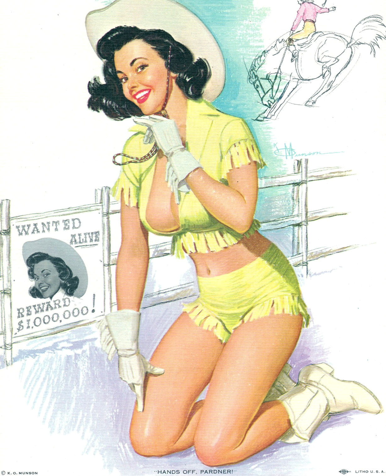 Naked girls pinup cowgirl topless