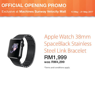 Apple Watch 38MM SpaceBlack Stainless Steel Link Bracelet Malaysia Price