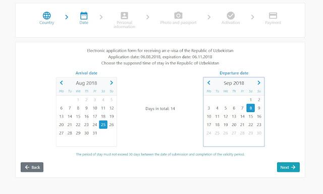 e-visa uzbekistán fechas