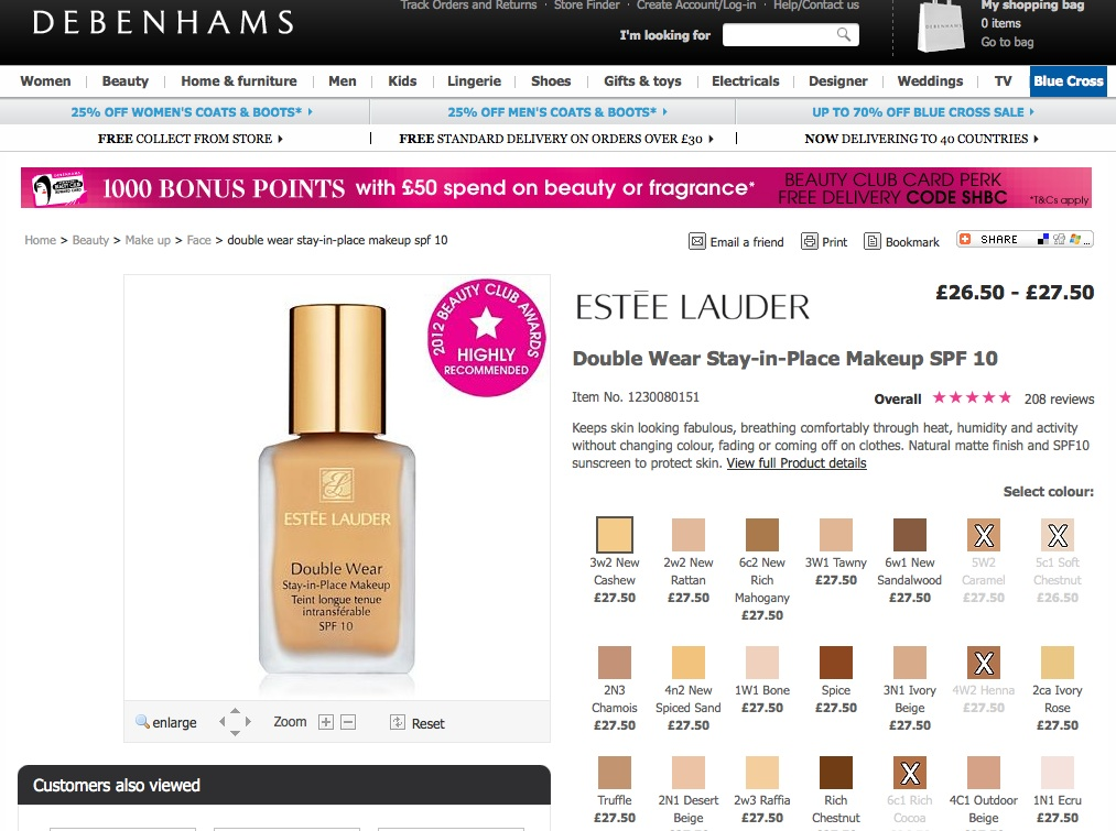 not singling debehams estee lauder out alone here but just to give an example of what it  like shopping for pretty much any foundation online also pale skin make up october rh paleskinmakeupspot