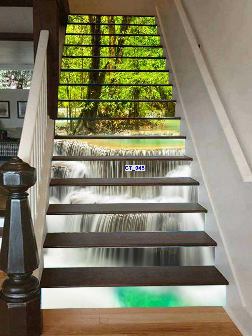 Tranh 3d bực cầu thang phong thủy thác  nước