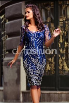 Rochie midi bleumarin de seara eleganta din Dantela florala cu croi drept