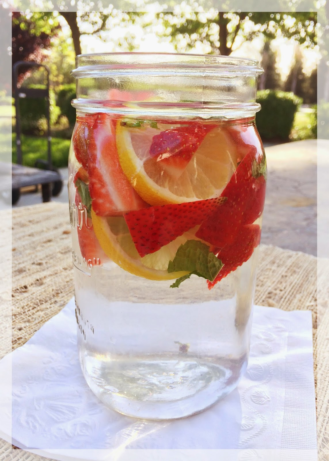 Put slices of strawberries and lemon into your jug or jar. You can put as little or as much fruits as you want. Fill your container with cold water then cover it. Leave in the refrigerator overnight. Your strawberry infused water will be refreshing and tastyin the morning.