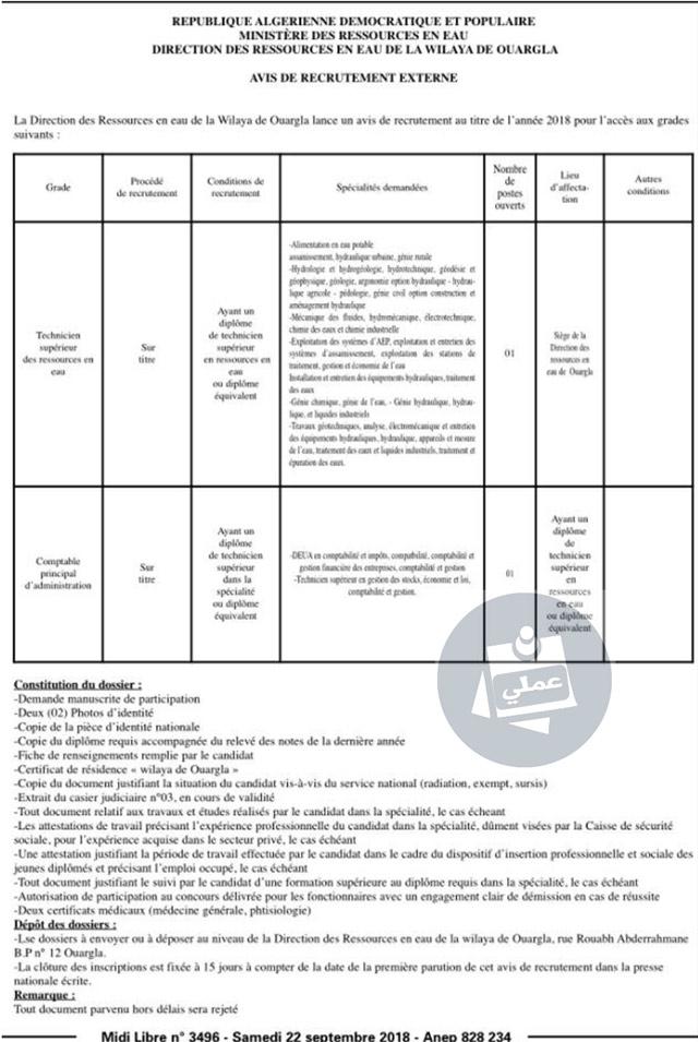 Direction-des-ressources-en-eau-ouaragla-recrute