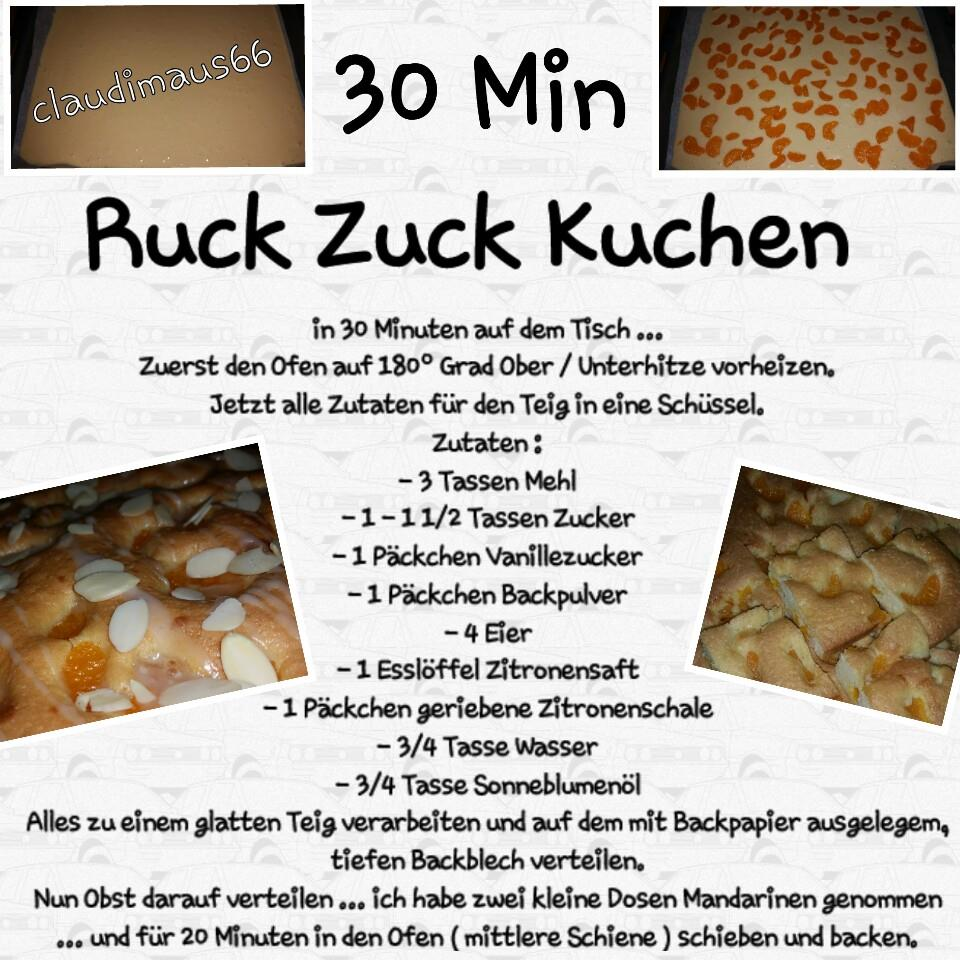 Kochen Und Backen Mit Claudia 30 Min Ruck Zuck Kuchen
