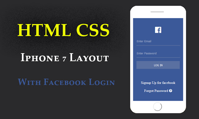 html css iphone 7 mobile layout with facebook login