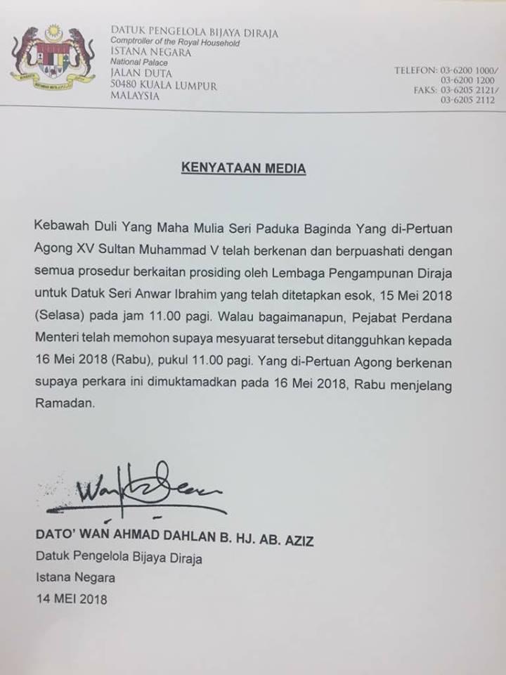 Istana Negara: Pengampunan Diraja Kepada Datuk Seri Anwar Ibrahim Akan Dimuktamadkan Pada Hari Rabu Ini