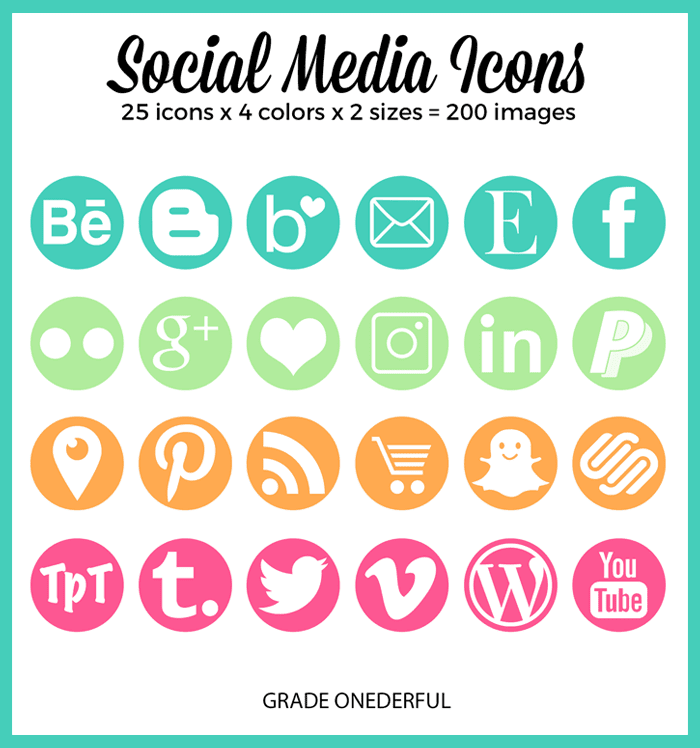 Pretty social media icons. 25 different popular icons. Two sizes: 50px, 400px. These will look amazing on your blog or product pages.
