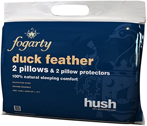 Fogarty Hush Duck Feather Pillow Pair with Pillow Protectors