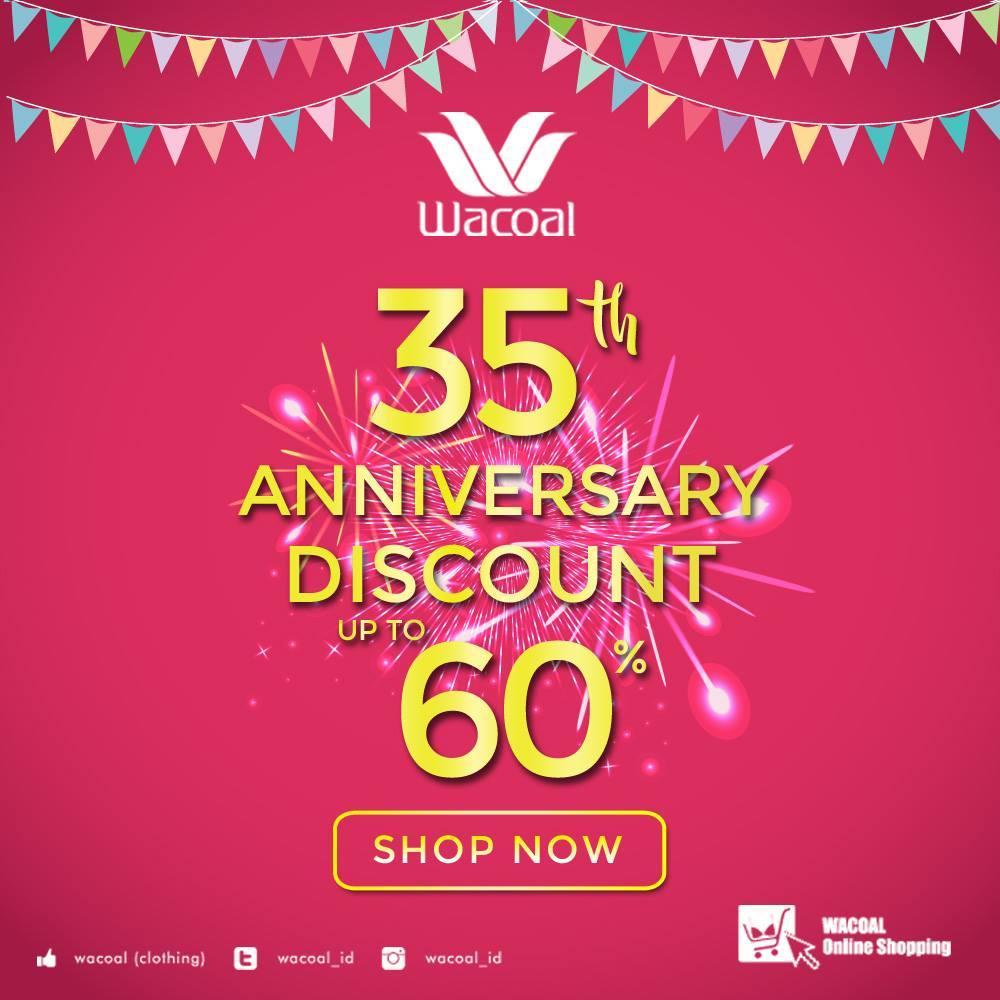 Wacoal Online Shoping 35th Anniversary Diskon Hingga 60%