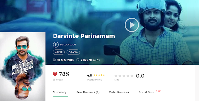 Darvinte Parinamam 2016 Malayalam Movie 300Mb & 700mb HD
