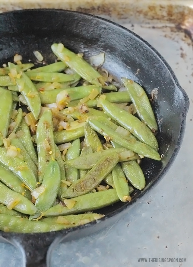 Sugar Snap Peas Recipe with Onion, Garlic & Orange Zest