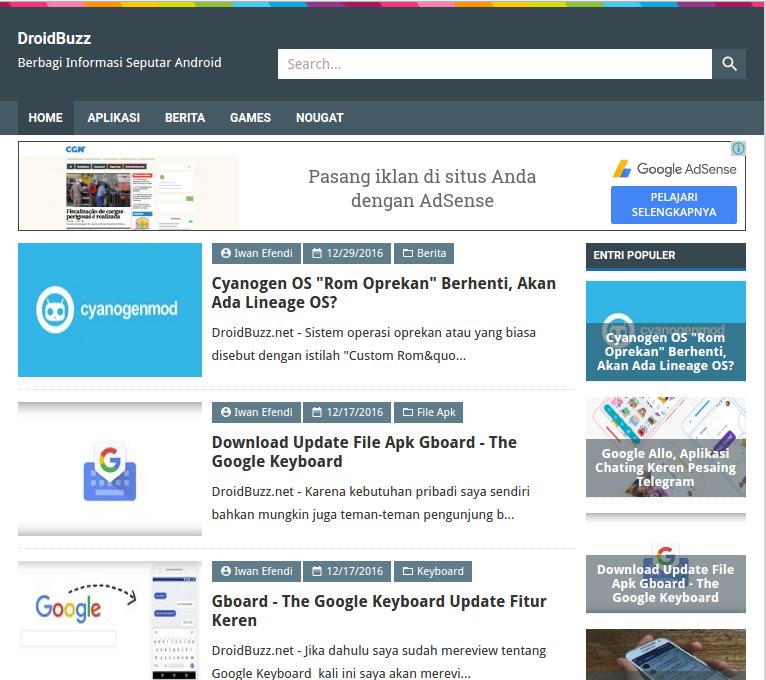 DroidBuzz AMP HTML, Modifikasi Dari BroSense Template