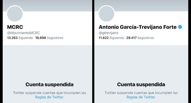 Suspenden varias cuentas del MCRC en la red social de Twitter